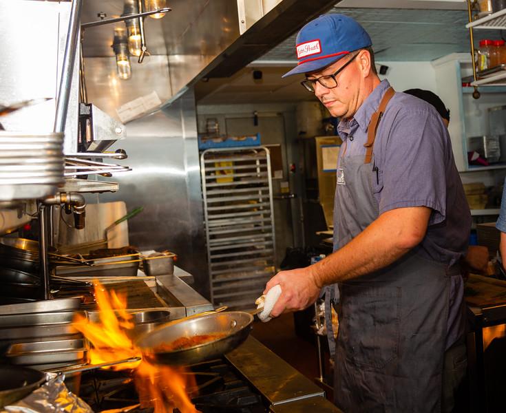 John Thomas, head chef at Sassafras, making candied yams,  on Friday, November 22, 2019. Sassafras is located at 105 S Narcissus Ave., West Palm Beach, FL,. [JOSEPH FORZANO/palmbeachpost.com]
