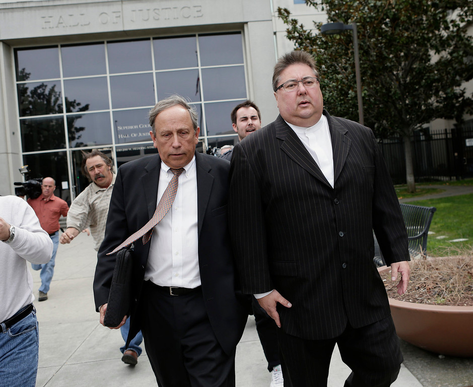 . George Shirakawa Jr., right, and his attorney, John Williams leave Santa Clara County Superior Court in San Jose, Calif. on Monday, March 18, 2013. Shirakawa pleaded guilty to five felonies, including four counts of perjury and one count of misappropriation of public funds, as well as seven misdemeanors for failing to file accurate campaign reports.  (Gary Reyes/ Staff)