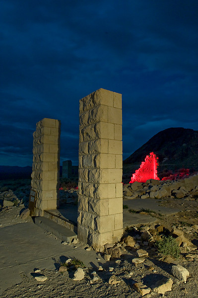 Financial Pillars  Remains of the Overbury Bank, Rhyolite, NV.  The moon finally came out from behind the clouds to provide some ambient light, combined with side light from a Coleman lantern.  Accent lighting on the  block wall with a red filtered flashlight.