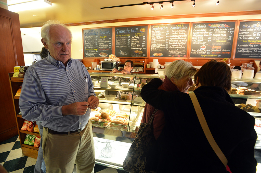 . Richmond city council member Tom Butt waits in line at the deli counter at Little Louie\'s in the Point Richmond area of Richmond, Calif. on Thursday, Jan. 24, 2013. (Kristopher Skinner/Staff)