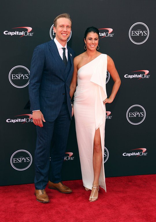 . Philadelphia Eagles\' Nick Foles,, left, and Tori Moore arrive at the ESPY Awards at Microsoft Theater on Wednesday, July 18, 2018, in Los Angeles. (Photo by Willy Sanjuan/Invision/AP)