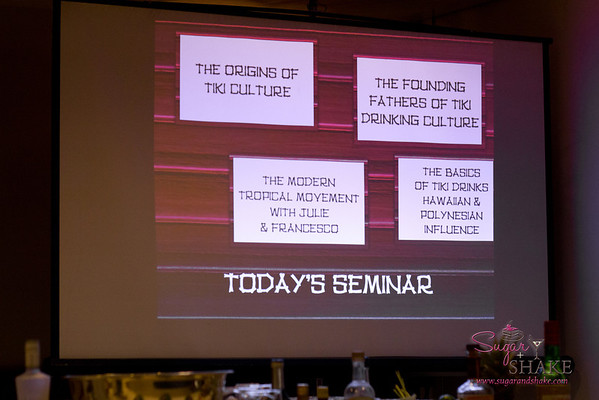 Our seminar covered: The origins of tiki culture; the founding fathers of tiki drinking culture (Donn Beach and Trader Vic); the basics of tiki drinks, Hawaiian & Polynesian influence; the modern tropical movement. © 2012 Sugar + Shake