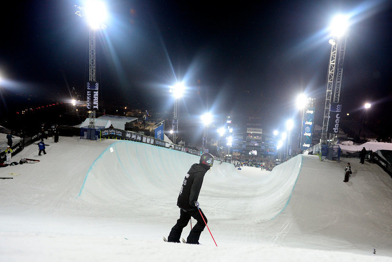 . ASPEN, CO. - JANUARY 24: Brita Sigourney looks down the pipe during warmup for the women\'s ski superpipe final. X Games Aspen Buettermilk Mountain Aspen January 25, 2013 (Photo By AAron Ontiveroz / The Denver Post)