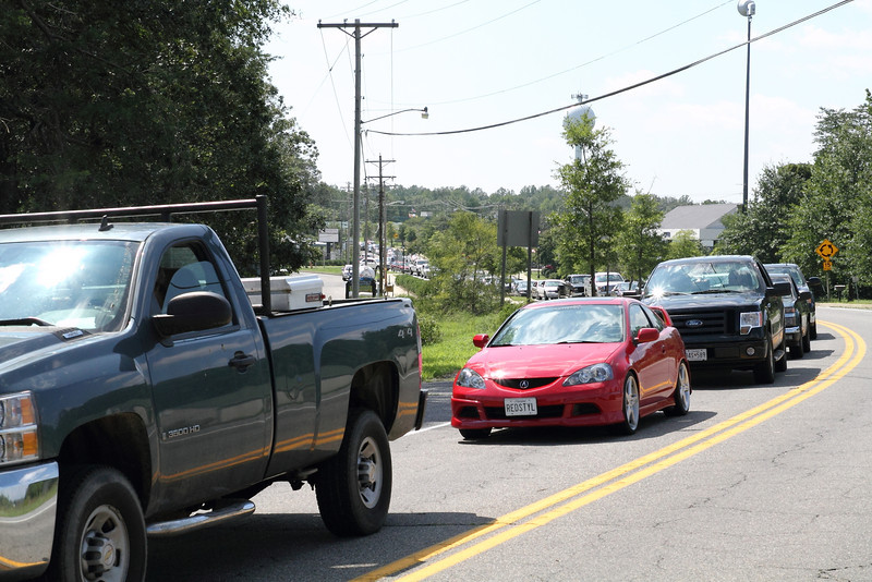 See how far the cars were lined up for that downed tree.