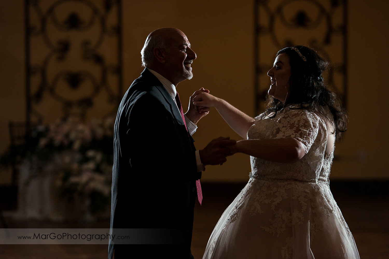 jewish father daughter dance during wedding reception at Livermore Garre Vineyard and Winery