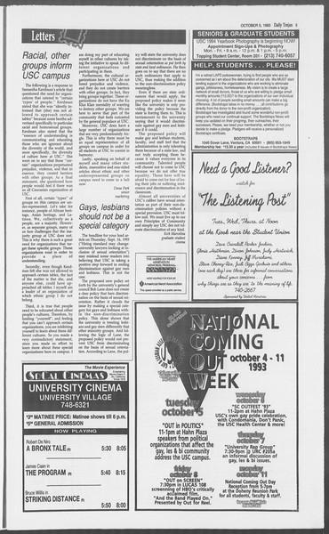 Daily Trojan, Vol. 121, No. 25, October 05, 1993