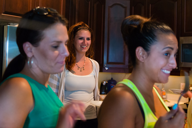 Sober home residents Amy Kilgore (left), Shelby Sparrow (center) and Mariana Lovecchio (right) line up for dinner at the All About Recovery younger women's sober home in Loxahatchee, Florida on Wednesday, June 1, 2016. Dinner for the sober home residents was prepared by Sparrow. (Joseph Forzano / The Palm Beach Post)