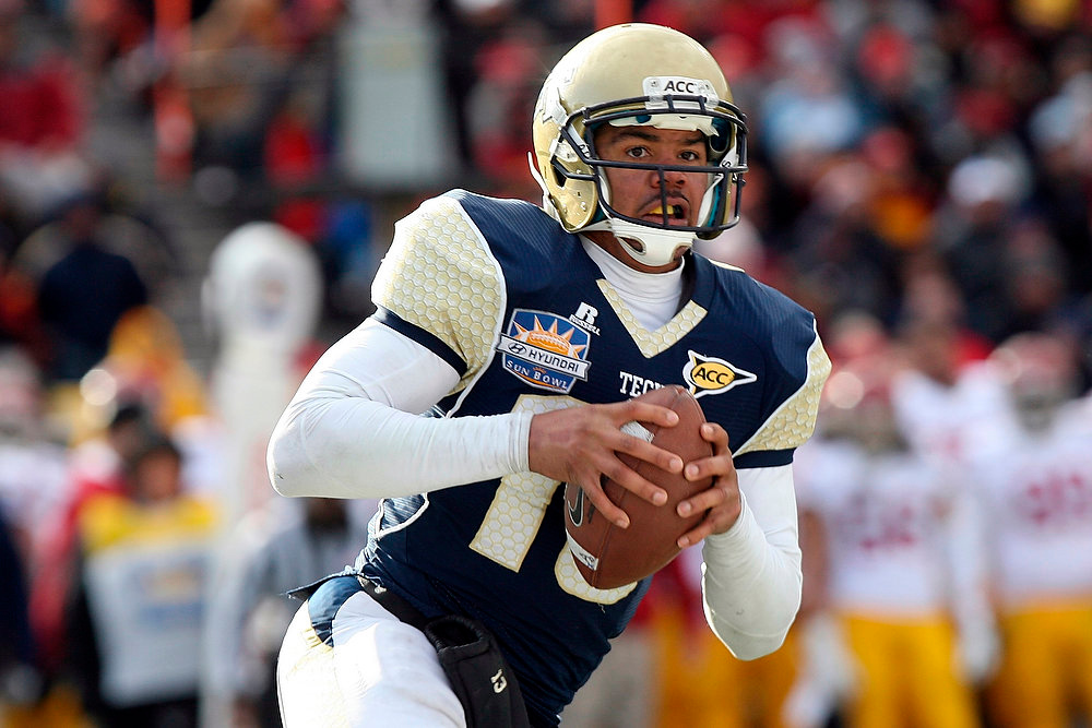 . Georgia Tech quarterback Vad Lee runs an option against Southern California during the Sun Bowl NCAA college football game, Monday, Dec. 31, 2012, in El Paso, Texas. Georgia Tech won 21-7. (AP Photo/Mark Lambie)