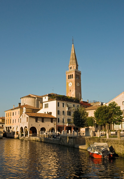 Historic Town Centre with Leaning Cathedral Bell-tower (Campanile pendente) and Lemene River, Portogruaro, Veneto, Italy