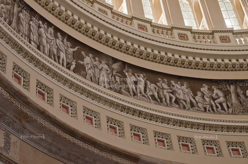 Frieze of American History in the Rotunda of the US Capitol