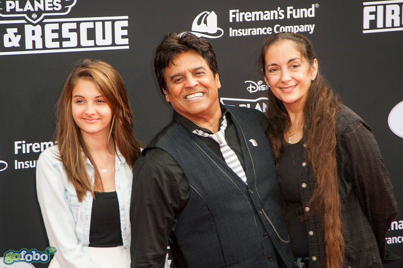HOLLYWOOD, CA - JULY 15: (L-R) Francesca Natalia Estrada, actor Erik Estrada and Nanette Mirkovich attend the premiere of Disney's 'Planes: Fire & Rescue' at the El Capitan Theatre on Tuesday July 15, 2014 in Hollywood, California. (Photo by Tom Sorensen/Moovieboy Pictures)
