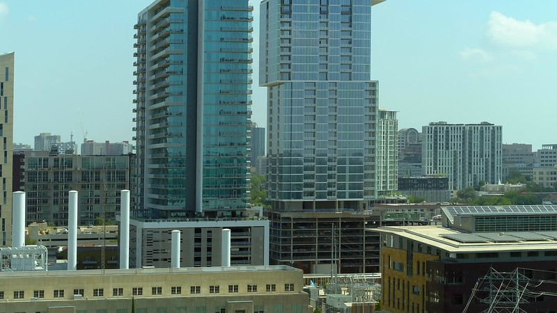 Aerial footage of The Independent Downtown Houston highrise condominium