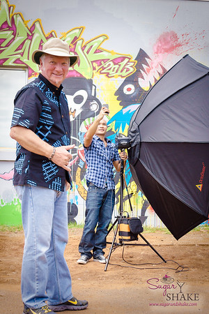 """22 Things: Nos. 2 & 3 (Chefs & Bartenders)"" photo shoot for HAWAI'I Magazine — Photographer David Croxford and best human light stand ever, Odeelo Dayondan. © 2013 Sugar + Shake"