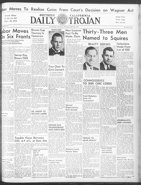 Daily Trojan, Vol. 28, No. 123, April 26, 1937