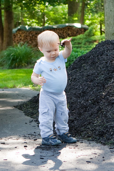 Ethan likes playing in the mulch pile.