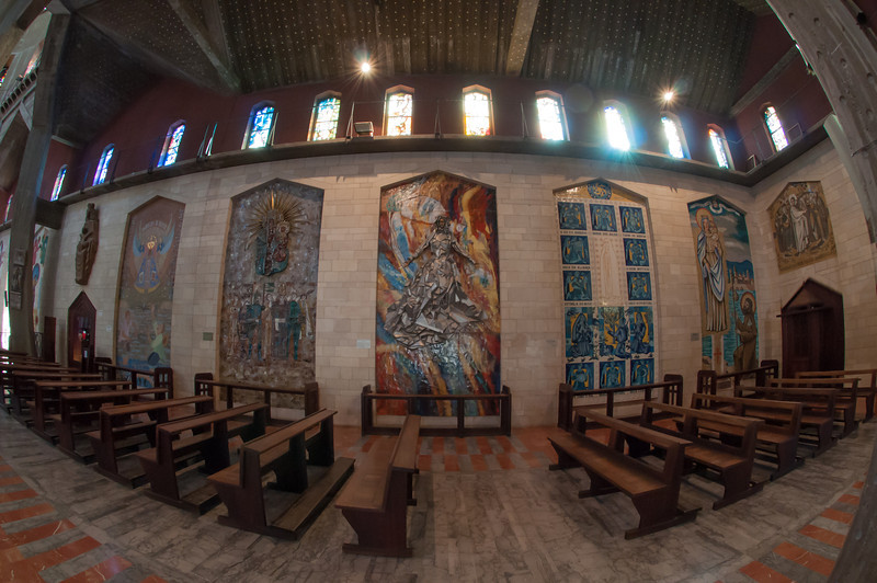 Inside the Basilica of the Annunciation in Nazareth, Israel.