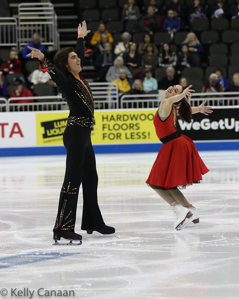 Alex Benoit and Elliana Pogrebinsky have some fun during their short dance in Kansas City.