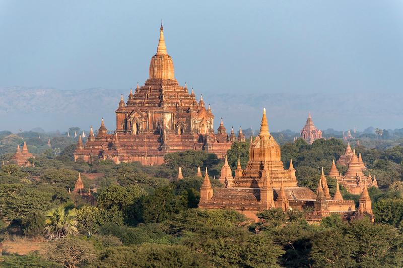 Htilominlo Temple as seen from Pyathada Paya, Bagan, Burma - Myanmar