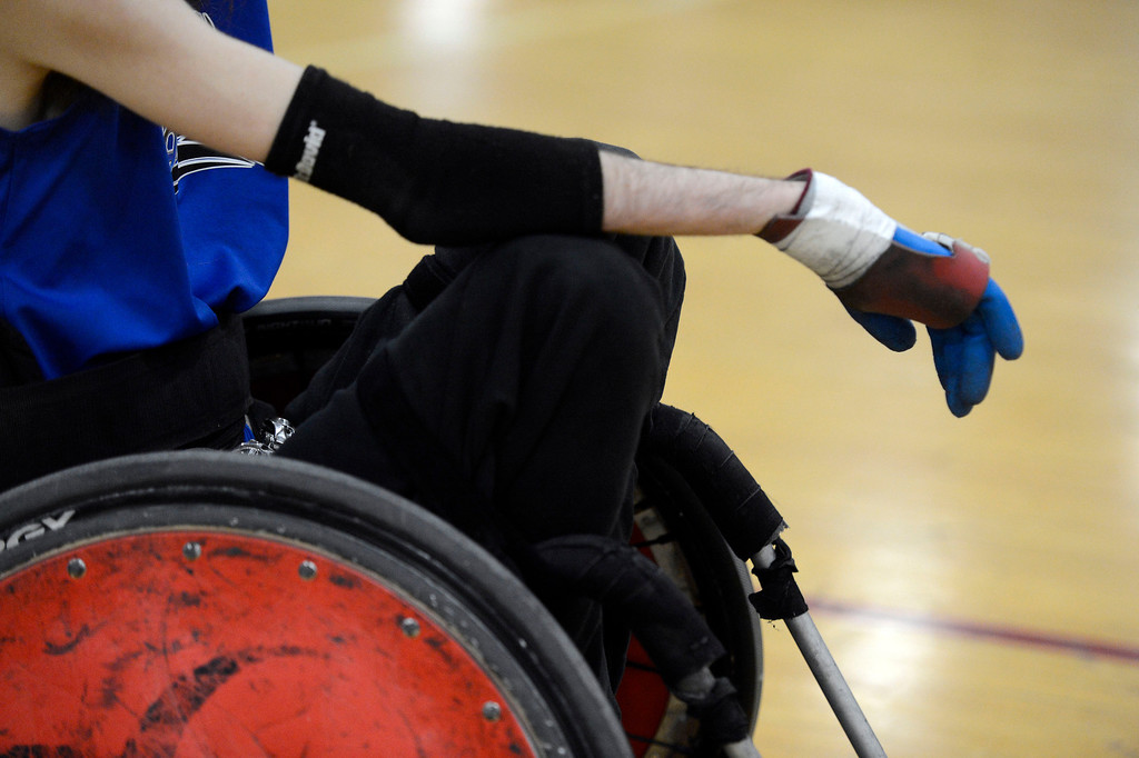 . DENVER, CO. - FEBRUARY 10: Joey Mearig (14) of the Northridge Knights waits for their game to start against the Denver Harlequins during the Wheelchair Rugby Tournament February 10, 2013 at Englewood High School.  The Mile High Mayhem was put on by Craig Hospital and city of Englewood.(Photo By John Leyba/The Denver Post)