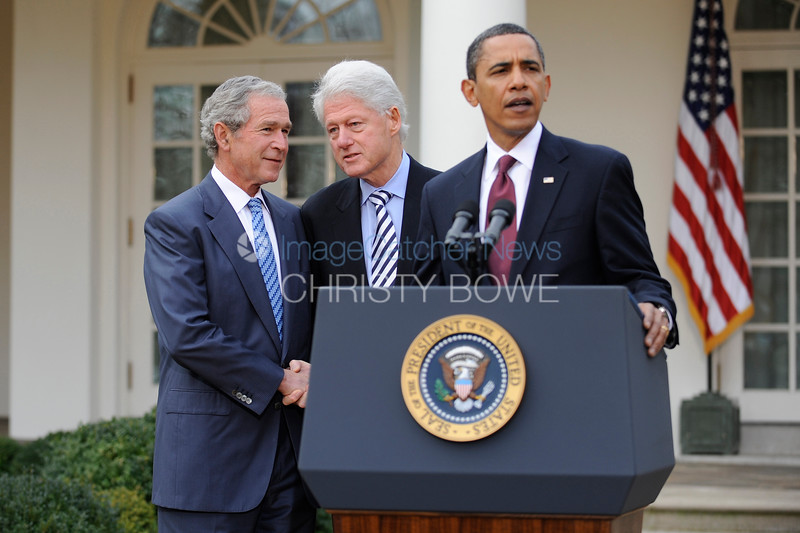 In the Rose Garden of the White House, Presidents Obama,  Bush and Clinton unite in helping the people of Haiti  recover from the devastating earthquake earlier this week.