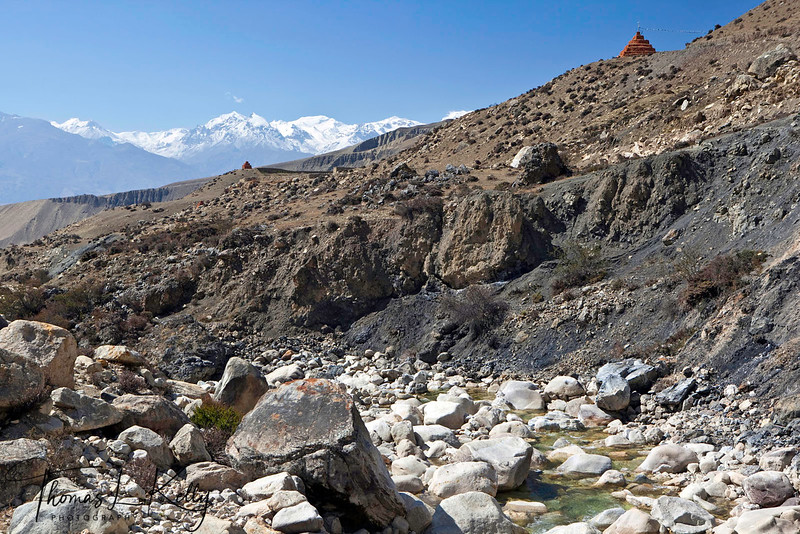 Looking towards Lo Ghyekar Goempa with the backdrop of Annapurna and Nilgiri Himalaya range, on the way to Lo Manthang. Mustang, Nepal.