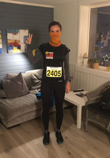 Yuliya is ready for her Mørketidsmila (10k) race