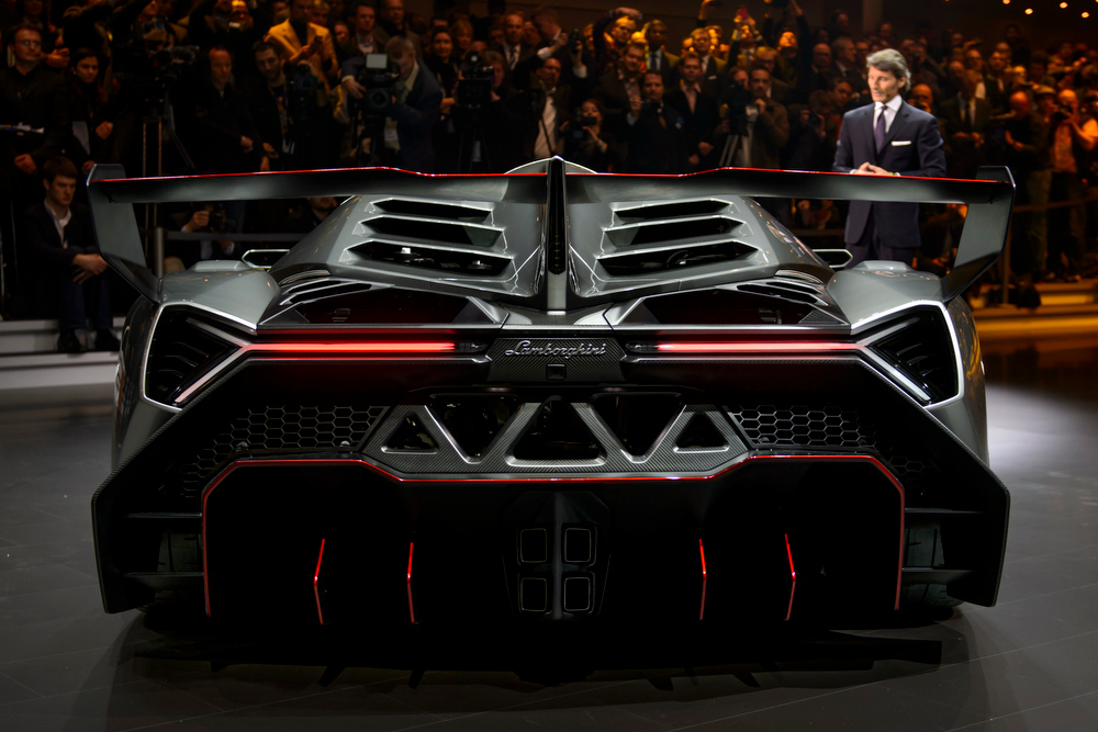 . The new Lamborghini Veneno is presented by CEO and Chairman Stephan Winkelmann during a preview of Volkswagen Group on March 4, 2013 ahead of the Geneva Car Show in Geneva.  FABRICE COFFRINI/AFP/Getty Images