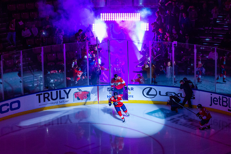 The Panthers enter the ice for the start of the game against the Vancouver Canucks at the BB&T Center on Thursday, January 9, 2020. The Panthers would go on to beat the Canucks 5-2.  [JOSEPH FORZANO/palmbeachpost.com]