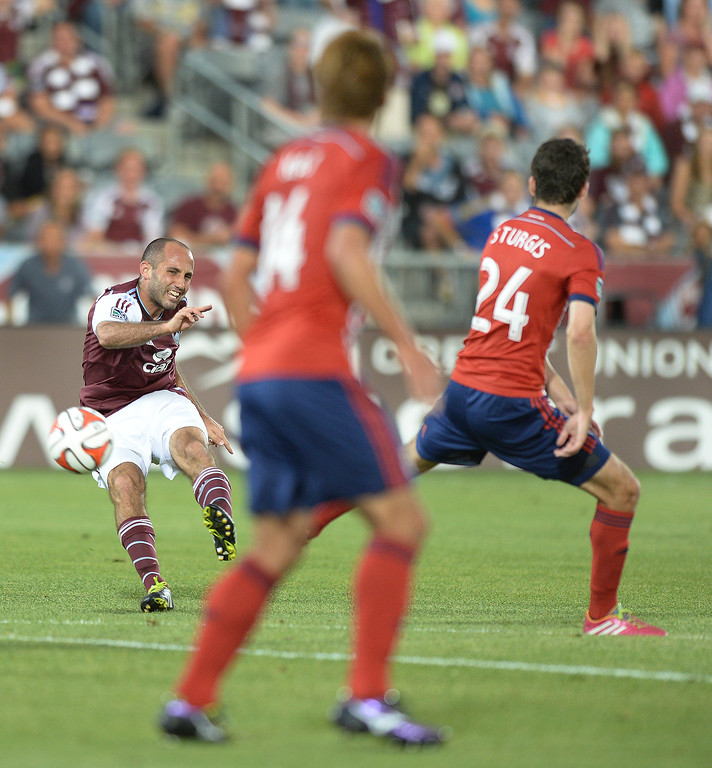 . Colorado midfielder Nick LaBrocca (2) put a shot behind Chivas\' defenders for a goal in the first half.  Photo by Karl Gehring/The Denver Post