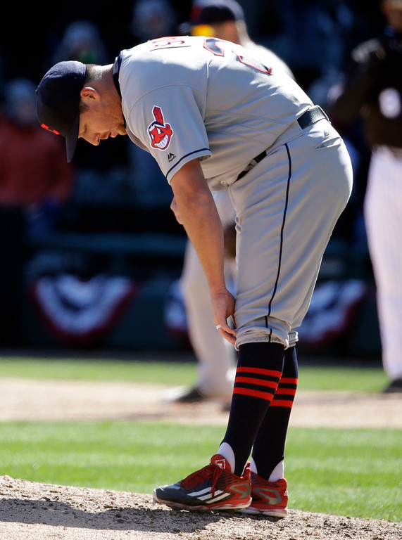 . Cleveland Indians relief pitcher Bryan Shaw looks down during the seventh inning of a baseball game against the Chicago White Sox, Saturday, April 9, 2016, in Chicago. (AP Photo/Nam Y. Huh)