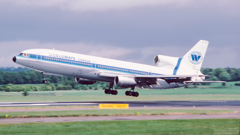 C-GIFE. Lockheed L-1011-385-1-14 TriStar 100. Worldways. Prestwick. June. 1987.