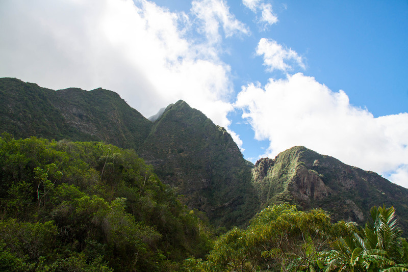 The Iao Valley is inside  the caldera that was the volcano that created the western part of the island of Maui, called The House Of The Moon. Five rivers converge here. It is the site of the bloodiest wars amongst tibes for the rule of the island. For these reasons it is regarded as the most sacred place on the island. You can feel this while looking at these peaks rising around you.