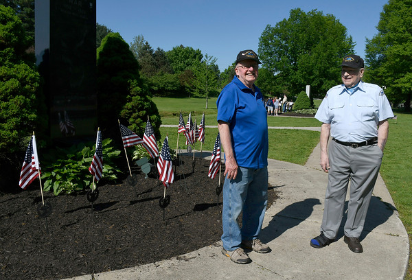 5/24/2018 Mike Orazzi | Staff Dick Averty and Omer Deabay talk about the Korean War during the monument tour for Bristol high school students Thursday morning on Memorial Blvd.