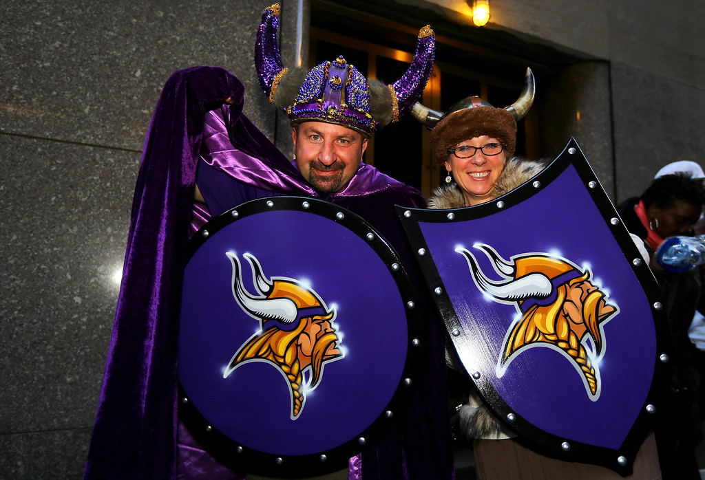 . Fans of the Minnesota Vikings show support for their team outside of Radio City Music Hall in the first round of the 2013 NFL Draft at Radio City Music Hall on April 25, 2013 in New York City.  (Photo by Al Bello/Getty Images)