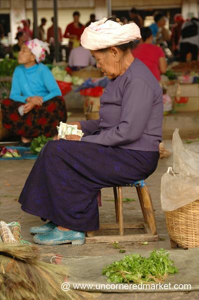Vendor Counting Money - Xishuangbanna, China
