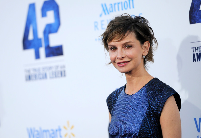 """. Actress Calista Flockhart poses at the Los Angeles premiere of \""""42\"""" at the TCL Chinese Theater on Tuesday, April 9, 2013 in Los Angeles. (Photo by Chris Pizzello/Invision/AP)"""