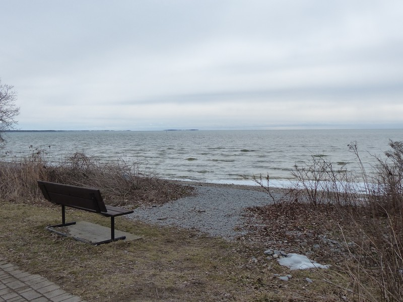 Looking out towards Lake Ontario. Yes, there are birds out there - binoculars and especially a spotting scope are essential.