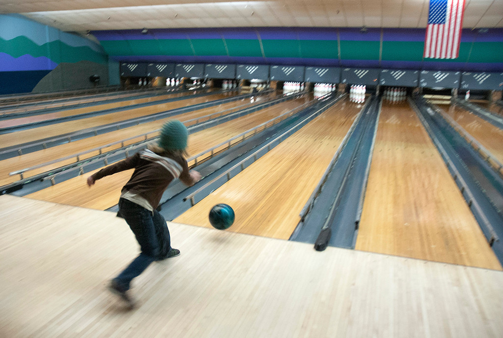 . Kayla Rice/Reformer Kailo Coursen, 8, of Guilford bowls at Brattleboro Bowl on Tuesday afternoon.