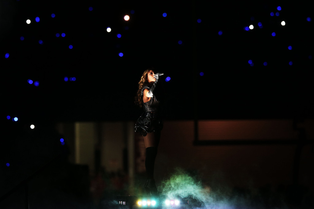 . Singer Beyonce performs during the Pepsi Super Bowl XLVII Halftime Show at the Mercedes-Benz Superdome on February 3, 2013 in New Orleans, Louisiana.  (Photo by Win McNamee/Getty Images)