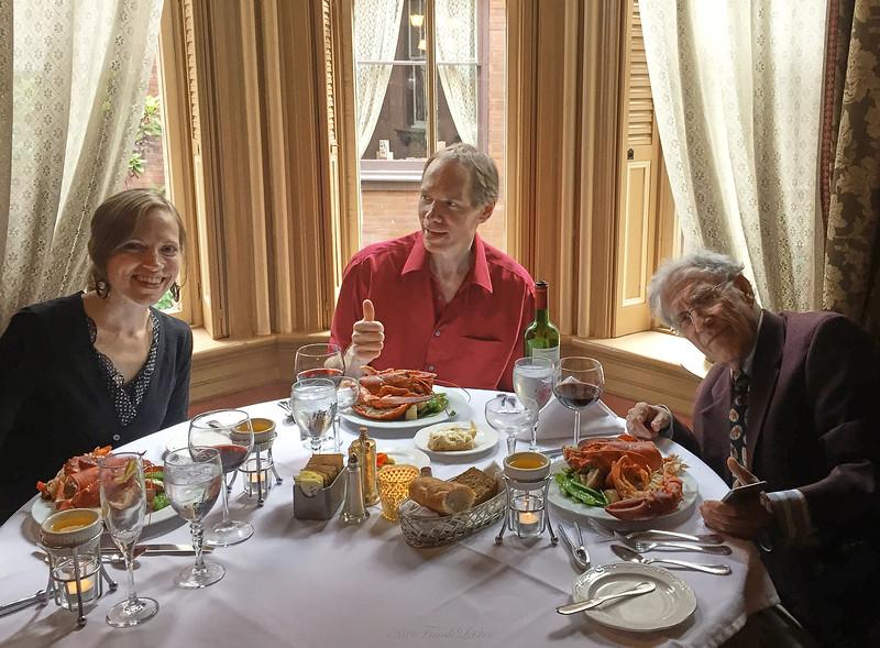 Dinner at the Herdic House, in Williamsport PA. Annie, FL, Larry Lebin. Jul 3 2015