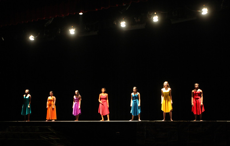 """. Intermediate/ advanced drama students perform excerpts from \""""For Colored Girls\"""" by Ntozake Shange during Skyline\'s annual Black History Assembly at Skyline High School in Oakland, Calif. on Monday, Feb. 4, 2013.  (Laura A. Oda/Staff)"""
