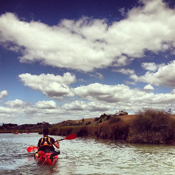 Big Sky: Loved carving up the Whaingaroa Estuary in a kayak, Raglan #newzealand
