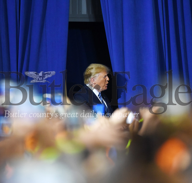Harold Aughton/Butler Eagle: Presdient Donald Trump enters the rally at the Shell Pennsylvania Petrochemicals Complex in Monaca, Tuesday, August 13.