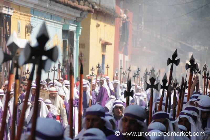 People in Streets, Semana Santa - Antigua, Guatemala
