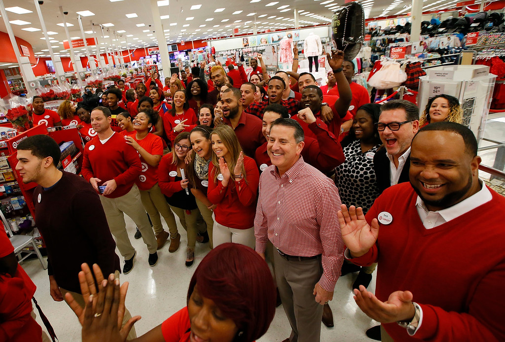 . IMAGE DISTRIBUTED FOR TARGET - Target CEO, Brian Cornell, joins store team members prior to the Thanksgiving opening on Thursday, Nov. 24, 2016, in Jersey City, N.J. (Photo by Noah K. Murray/Invision for Target/AP Images)