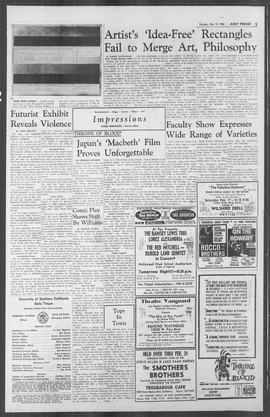 Daily Trojan, Vol. 53, No. 70, February 15, 1962