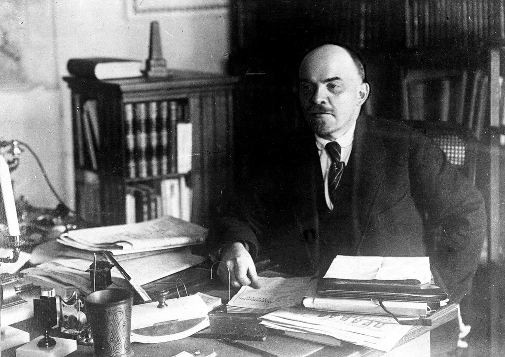 . Russian leader Vladimir Lenin in his office in the Kremlin, Moscow, around 1919. (AP Photo)