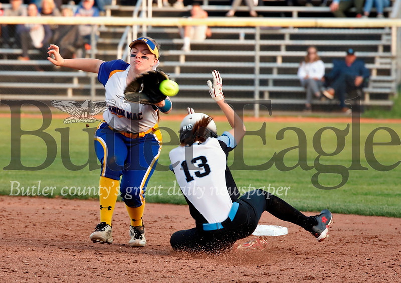 Julia Ehrman#13 beats the ball to steal second. Seb Foltz/Butler Eagle