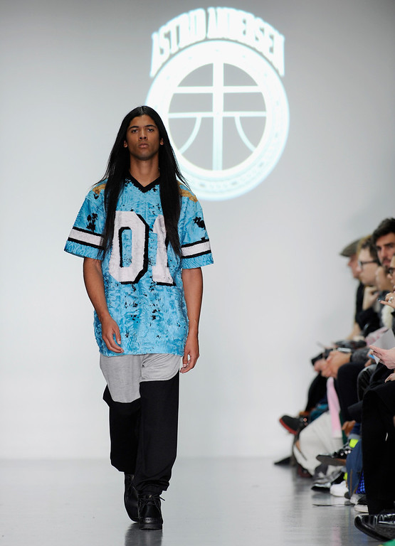 . A model walks the runway at the Astrid Andersen show during The London Collections: Men Autumn/Winter 2014 on January 6, 2014 in London, England.  (Stuart C. Wilson/Getty Images)