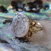 """Mama"" Bear Family Crest Chalcedony Ring, by Seal & Scribe 1"